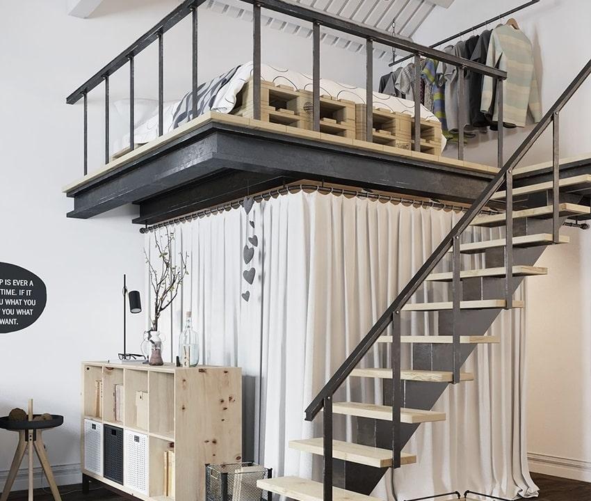 desain kamar tidur yang berloteng