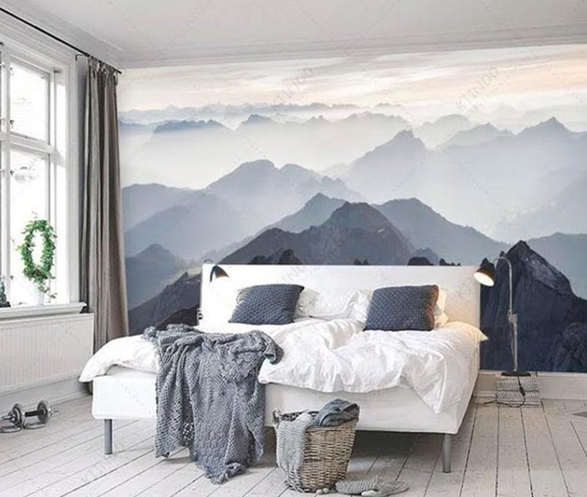 warna dinding rumah dengan wallpaper atau mural