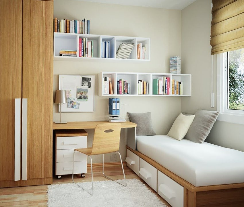 kamar tidur dengan interior multifungsi