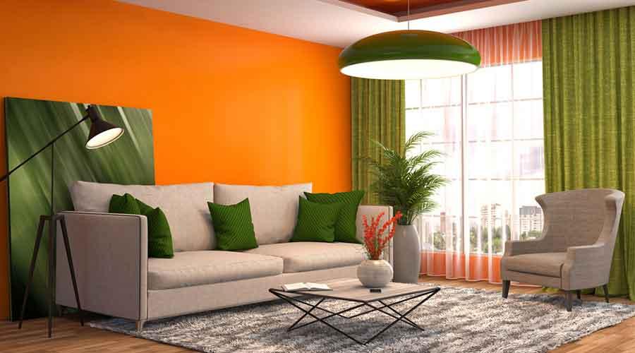 gambar ruangan warna jingga