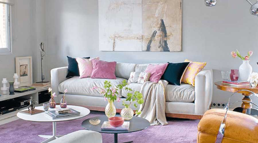 warna ruangan unik abu abu lilac
