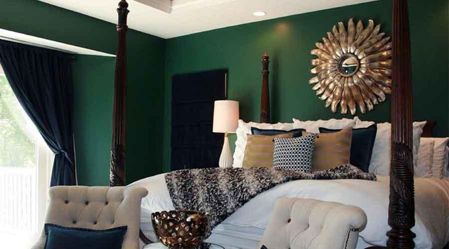 ruangan kamar warna hijau